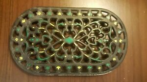 Vintage French Traditional Oval Trivet, Cast Iron.