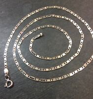 New 14k White Gold Layer On Silver Italian Shine Flat Marina Chain 2.0mm-16""