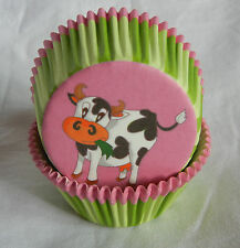 50 adorable cow green stripe cupcake liners baking paper cup muffin case 50x33