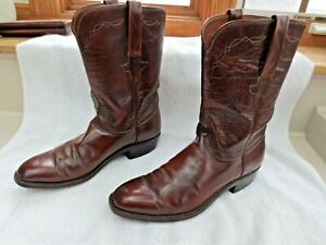 Lucchese Western Cowboy Boots Brush-off Goatskin L6748 smooth roper sz 10 B used