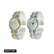 excellentwatch-Metal Western Style Decorated Oval Face Women's Bangle Cuff Watch