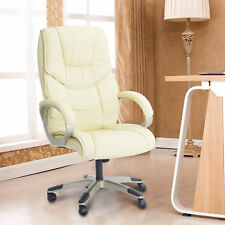 Leather Office Chair PC Computer Desk Chairs Swivel Adjustable High Back Cream