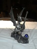 DEFENDER ARMOR Dragon with Blue Globe and metal Sword Statue Statue 10 1/2 H big