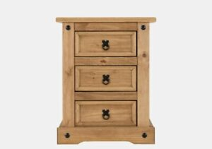 Corona 3 Drawer Bedside Chest  Distressed Waxed Pine