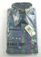 Vintage NOS Saddle King by Key Western Pearl Snap XTRA Long Tail Shirt 15.5 x 36