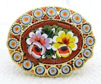 Vintage Gold Toned Micro Mosaic Floral Flowers Glass Purple Yellow Pin Brooch