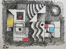 ABSTRACT CUBIST SUPREMATIST PASTEL / INK PAINTING SIGNED