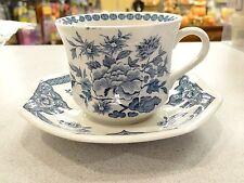 4 J&G MEAKIN STAFFORDSHIRE English Ironstone OLD PEKIN Blue White CUPS SAUCERS