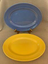 "Vintage Pair Harlequin Homer Laughlin Mauve Blue & Yellow 11"" Serving Platters"