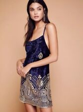Free People Lenni Malu Velvet Mini Embellished Dress Navy Blue $250.00 Small