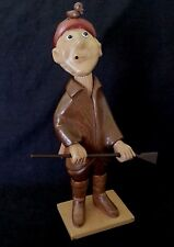 """Vintage wooden hand carved """"Hunter"""" statue 12 inches, Italy"""