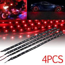 4X Red 30CM/15 LED Car Boat Motor Bike Decor Flexible Light Strip Waterproof 12V