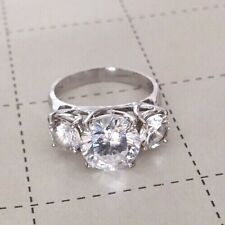 Vintage Round Cut Fianit Sterling Silver 925 Ring Sz6