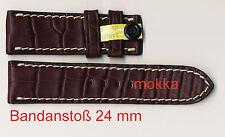 Echt Alligatorleder-Uhrenband 24 mm mokka, insbes. für Officine Panerai