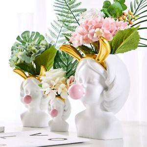 Modern Tabletop Flower Vase Resin Human Head Golden Bubble Gum Living Room Home