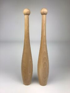Indian Clubs, Wooden Clubs, Exercise Clubs, Small - 2Lb or 0.9 kg each club