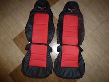 2005-2011 C6 Corvette Genuine Leather Seat Covers Black/Red Sport Seats