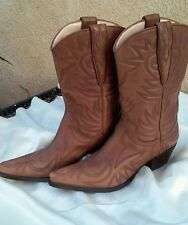 GUESS Punk Leather Western Cowgirl Mid Calf Pointy Toe Boots Sz 5.5M
