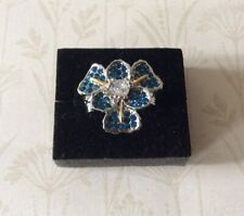 Sapphire Crystal Floral Statement Ring Size N