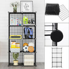 8 Cube DIY Wire Grid Bookcase Multi-Use Modular Storage Shelving Rack Display UK