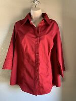 Women's Lane Bryant Button Up Blouse Shirt 3/4 Sleeve, Red, 18/20