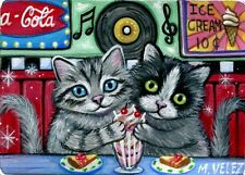 Original Raccoon Artist Kitten Cat 50's Diner Ice Cream Pie Treats ACEO Painting