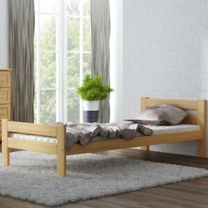Bett unlackiert Holzbett mit Lattenrost Kieferholz roh Einzelbett Doppelbett