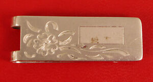 ANSON STERLING SILVER HAND ENGRAVED FLORAL MONEY CLIP VINTAGE NEEDS CLEANING !!
