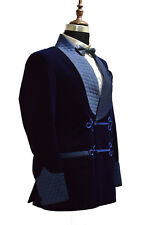 Men Smoking Jacket Navy Blue Velvet Quilted Shawl Lapel Party Wear Blazer Coat