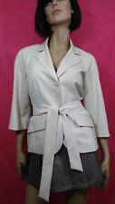 Anne Klein Tie Belt Jacket Blazer Womens 6 Pale Beige Stretch 3/4 Sleeve Career