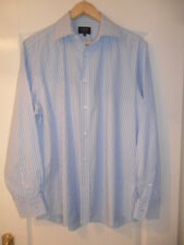 """mens """"JAEGER"""" COTTON BLUE/WHITE STRIPED CLASSIC FIT SHIRT SIZE 16 1/2 COLLAR"""