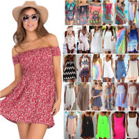 Womens Summer Short Mini Dress Beach Bikini Cover Up Kaftan Swimwear Sundress US