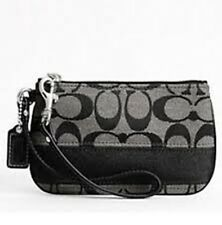 COACH Signature Grey/Black Stripe Wristlet