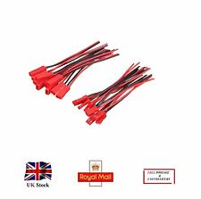 5 Pairs 10cm JST Plug and Socket connectors Li-Po Battery leads 2pin Red&Black