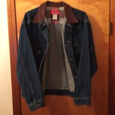 Vintage Marlboro Country Store Denim Jacket With Leather Collar Size Small
