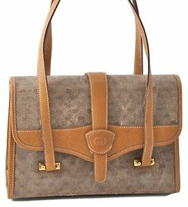 Authentic GUCCI Micro GG PVC Leather Shoulder Hand Bag Brown D4290
