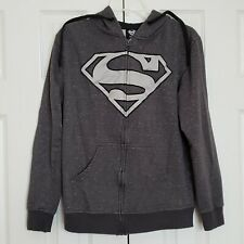 Superman Full Zip Hoodie Sweatshirt Appliqued Logo Size Small