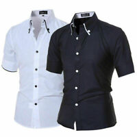 Mens Fashion Luxury Casual Slim Fit Dress Shirts Stylish Short Sleeve T-Shirts