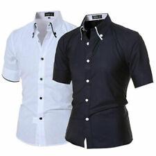 Mens Fashion Luxury Casual Slim Fit Dress Shirts Stylish Short Sleeve T-Shirts