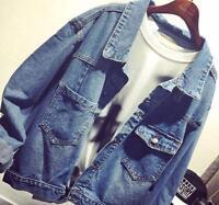 Hot Womens Oversize Loose Denim Jean Jacket Korean Leisure Short Casual Coat