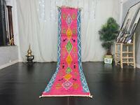 "Moroccan Boujad Handmade Runner Rug 2'4""x11'1"" Geometric Pink Blue Berber Carpet"