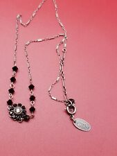 "New ListingLiz Palacios Black Swarovski Crystal Flower Necklace 16"""