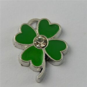 8pcs Green Alloy Enamel Four Leaf Clover Rhinestone Pendant Charm Crafts 50867