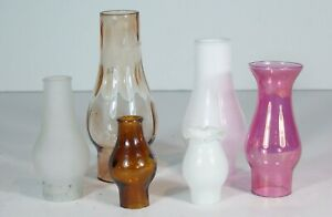 LOT OF (6) 1890s TO 1910s MINIATURE OIL LAMP CHIMNEYS - COLORED GLASS - ORIGINAL