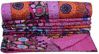Pink Ikat Kantha Quilt Queen Bedding Reversible Handmade Indian Blanket Throw