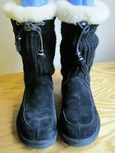 UGG Suburban Knit & Suede & Shearling Boots Black Size 6