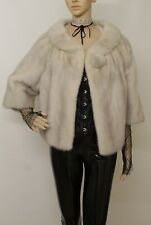 REAL MINK FUR VINTAGE AZURINE CROSS IVORY GREY BOLERO JACKET 6-14 UK /L VISONE