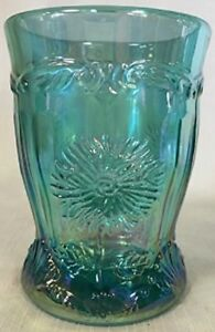 Tumbler - Dahlia - Teal Carnival Glass - Mosser USA