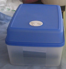 Tupperware Rectangular Ice Cream Container Freezer Mates w/ Sapphire Blue New