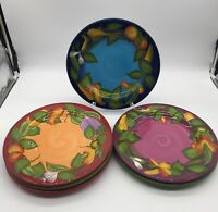 Gates Ware By Laurie Gates Set Of Six Dinner Plates ( Colorful Vegetables)